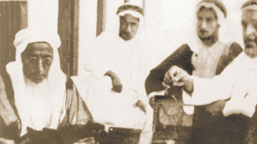 Mr. Abdullah Darwish in 1924 participating in a pearl trading deal