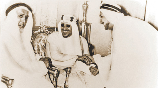 HRM King Saud Bin Abdulaziz Al Saoud, Former King of Saudi Arabia, HH Sheikh Ali Bin Abdullah Al Thani, Former Ruler of Qatar, and Mr. Abdullah Darwish.