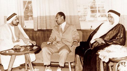 HH Sheikh Ali Bin Abdullah Al Thani, Former Ruler of Qatar, HE Mr. Anwar Sadat, Former President of Egypt, and Mr. Abdullah Darwish
