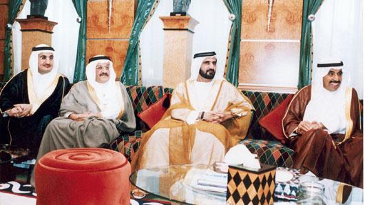 UAE Vice President and Prime Minister and Ruler of Dubai, HH Sheikh Mohamed Bin Rashid Al Maktoum, Mr. Khalid Suleiman Olayan and Mr. Abdul-Aziz Al-Babtain with Bader Abdullah Al-Darwish