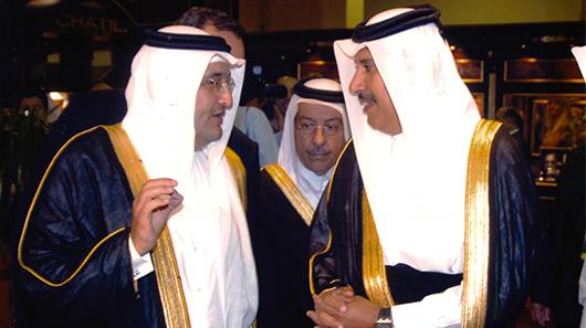 HE Sheikh Hamad bin Jassim bin Jaber Al Thani, Former Prime Minister of the State of Qatar, and Mr. Bader Abdullah Al-Darwish