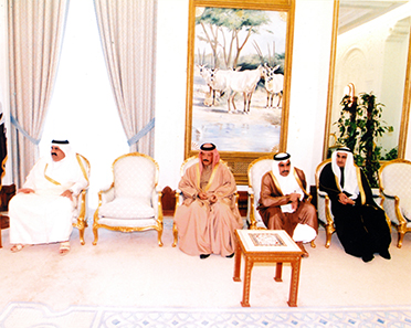 HH the Father Emir of Qatar, Sheikh Hamad Bin Khalifa Al Thani, HE Mr. Yousef Hussein Kamal Al Emadi, Former Minister of Finance, HE Sheikh Abdulrahman Bin Saud Al Thani, Former Chief of Amiri Diwan, and Mr. Bader Abdullah Al-Darwish