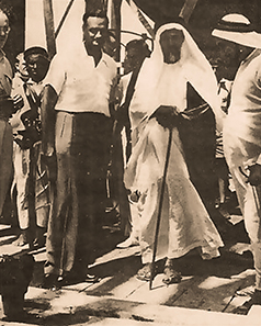HH Sheikh Ali Bin Abdullah Al Thani, Former Ruler of Qatar, and Mr. Abdullah Darwish on a visit to one of the oil drilling sites in the early 1950s